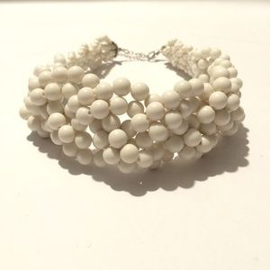 Vintage White Beaded Statement Necklace